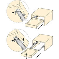 Emuca Paire de coulisses invisibles pour tiroirs, à roulettes, 550 mm, sortie totale, fermeture amortie, Zingué - Zingué
