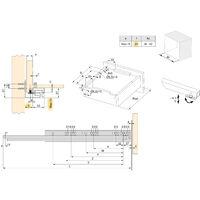 Emuca Paire de coulisses invisibles pour tiroirs, à roulettes, 250 mm, sortie totale, système push, Zingué - Zingué