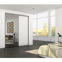 Emuca Système coulissant Placard pour armoires 2 portes avec roulement inférieur, épaisseur 16mm, fermeture amortie, panneaux non incluses, profils Aluminium, Anodisé mat - Anodisé mat