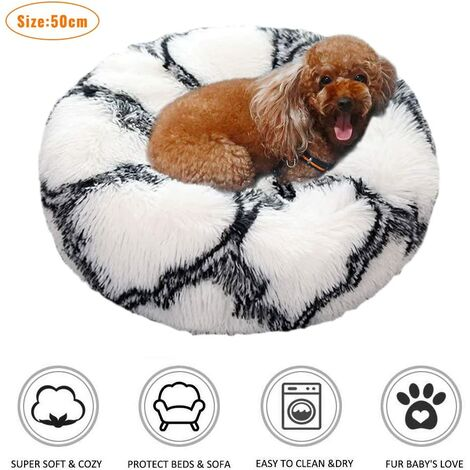 Deluxe Warm Plush Cat Basket, Round or Oval Donut-Shaped Anti-Slip Pet Bed, Soft Mat Removable Cushion Basket with Cushion for Cats and Small Dogs
