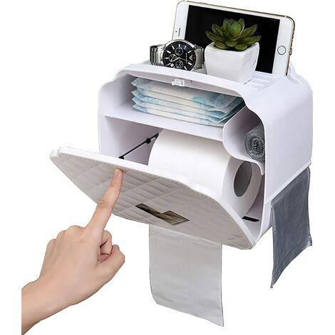 Toilet Paper Holder, Wall Mounted Toilet Paper Holder, Waterproof / Dustproof Paper Dispenser and Toilet / Toilet Roll Holder (White)