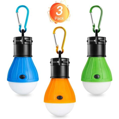 Camping Lamp, LED Camping Lantern, Portable Tent Lamp Lantern Bulb Set - COB Emergency Lighting 150 Lumens Waterproof Camping Light for Camping Adventure Fishing Garage Power Failure (3 PACK)