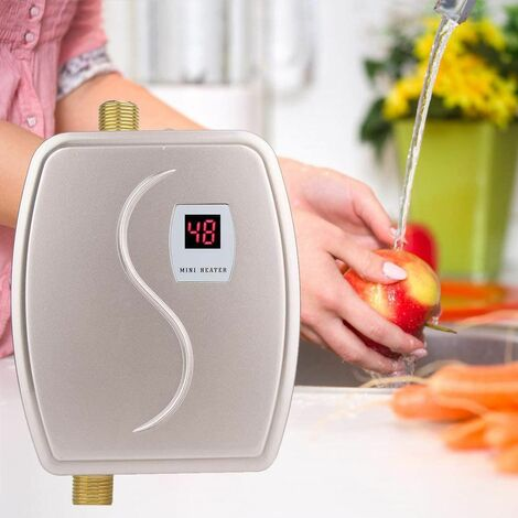 Electric Instant Water Heater, 220V 3800W Mini Tankless Instant Water Heater Adjustable Thermostat, Portable Mini Kitchen Hot Water Heater for Bathroom Kitchen (Golden)