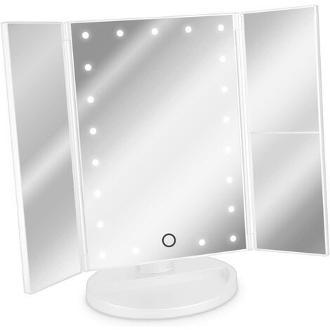 3-Sided LED Lighted Mirror - Foldable Triptych Makeup Mirror on Stand with Magnifying Effect x2 x3 - Battery or USB - White