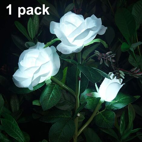 Solar Artificial Rose Flower Lights Decorative Solar LED Lights for Outdoor Waterproof IP44 for Garden Christmas Outdoor Decoration, Patio, Backyard, Lawn, Balcony (White, 1 PC)