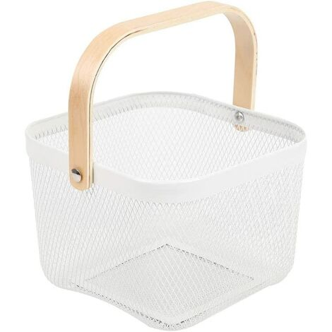 Trash Organizer Storage with Wooden Handle Stackable Vintage Metal Utility Basket for Pantry Kitchen Cupboard Bathroom Pantry Cabinets (White)