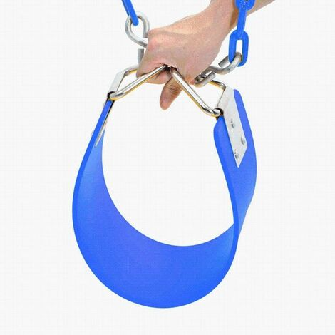 Children's swing Eva Board Single Indoor Outdoor swing with nickel-plated triangular iron piece with chain Children's swing for entertainment facilities-64x15 × 0.8cm blue
