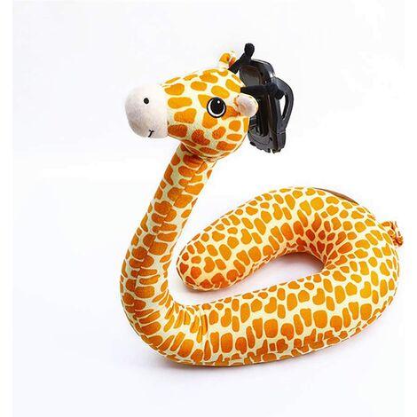 2 in 1 U Shaped Pillow Laptop Neck Support, Lazy Cell Phone Stand, U Shaped Pillow, Cute Cartoon Animal Neck Pillow - giraffe
