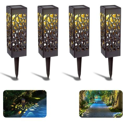 Outdoor Solar Garden Light, 4 Pack Solar Garden Lamp LED Lights Solar Flames Waterproof Garden Lamp, Solar Light Lamp Decoration for Lawn / Garage / Patio / Yard Paths
