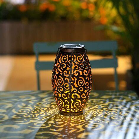 Outdoor Solar Lantern, Solar Hanging Light, Decorative Table Lamp, IP44, Waterproof, Solar Light for Garden, Yard, Patio, Balcony, Black
