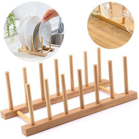 Rack Tray Storage Rack Kitchen Bamboo Plate Vertical Drainer Bamboo Support Plates for Plates, Bowls, Cups, Lids, Pans, Cutting Boards, Books — 6 Racks