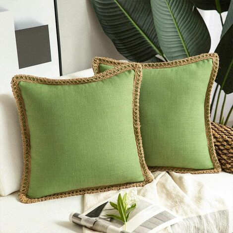 2 Pieces Decorative Cushion Covers Linen Pillow Case Mustard Green Cotton Linen Living Room Cushion Cover for Bedroom Living Room Office Car Sofa 45X45Cm (without Pillow Core)