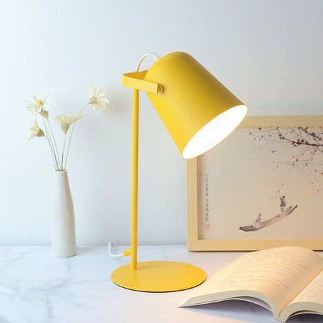 Decorative Table Lamp, Reading Lights, Design for Office and Bedside Table, Living Room, Iron Art, LED Bulb, Yellow