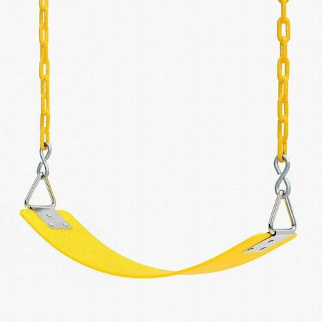 Children's swing Eva Board Single Indoor Outdoor swing with nickel-plated triangular iron piece with chain Children's swing for entertainment facilities-64x15 × 0.8cm yellow