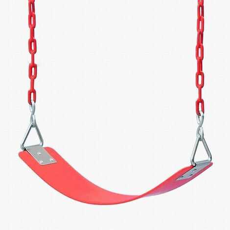 Children's swing Eva Board Single Indoor Outdoor swing with nickel-plated triangular iron piece with chain Children's swing for entertainment facilities-64x15 × 0.8cm red