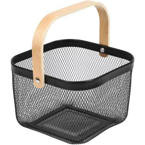 Trash Organizer Storage with Wooden Handle Stackable Vintage Metal Utility Basket for Pantry Kitchen Cupboard Bathroom Pantry Cabinets (Black)