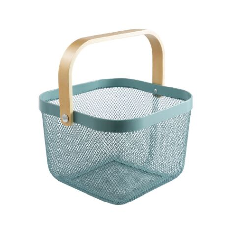 Trash Organizer Storage with Wooden Handle Stackable Vintage Metal Utility Basket for Pantry Kitchen Cupboard Bathroom Pantry Cabinets (blue)