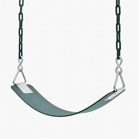 Children's swing Eva Board Single Indoor Outdoor swing with nickel-plated triangular iron piece with chain Children's swing for entertainment facilities-64x15 × 0.8cm green