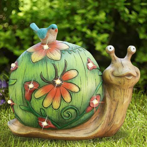 Garden Statue Snail Figurine - Solar Powered Resin Animal Sculpture, Indoor Outdoor Decorations, Patio Lawn Yard Art Ornaments, Gifts for Mom, 10 x 8.5 Inch