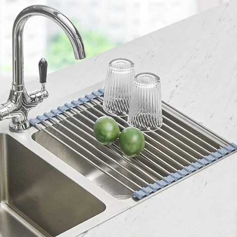 Roll Up Dish Drying Rack, Seropy Over The Sink Dish Drying Rack Kitchen Rolling Dish Drainer, Foldable Sink Rack Mat Stainless Steel Wire Dish Drying Rack for Kitchen Sink Counter