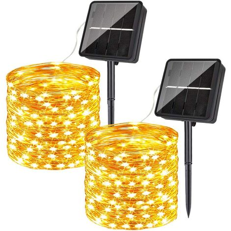 Solar String Lights Outdoor Waterproof, 2-Pack Each 79FT 240PCS LED Fairy String Lights Solar Powered Warm White with 8 Lighting Modes for Patio Bistro Garden Party Wedding