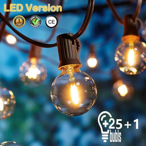 [25 LED Version] Outdoor String Lights, G40 7.62 Meter 25 + 2PCS Outdoor String Lights for Indoor and Outdoor Decor, Wedding Light, Warm White Bulb