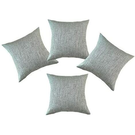 Decorative Soft Handmade Faux Linen Cushion Covers Throw Pillow Covers for Couch 18 x 18 Inches with Invisible Zipper Set of 4 (Grey)