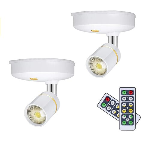 Wireless Spot Lights Battery Operated Picture Lights Mini Accent Lights Indoor Dimmable LED Spotlight with Remote Stick on Anywhere Rotatable Wall Warm Light(2 Pack)