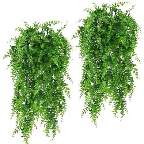 2 Pcs Artificial Plants Hanging Vines Ferns Outdoor UV Resistant Fake Hanging Plant Faux Hanging Boston Fern Flowers Vine Plastic Plants for Wall Indoor Hanging Baskets Wedding Garland Decor