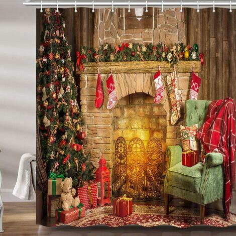 Christmas Decor Shower Curtain, Xmas Tree Fireplace Room New Year Upgrade Polyester Fabric Bath Curtains Bathroom Accessories, with Hooks 72X70 Inches