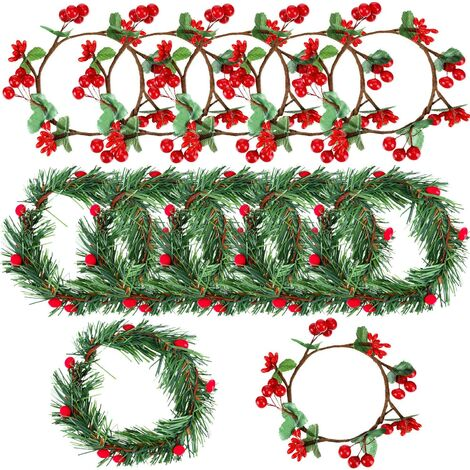 10 Pieces Christmas Candle Ring Artificial Berry Candle Rings with Small Berry for Home, Wedding, Living Room, Bedroom and Christmas Holiday Table Decoration