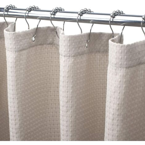 Beige Shower Curtain for room Waffle Shower Curtain 72x72 Inches Hotel Shower Curtain Machine Washable 230 GSM Heavy Duty Khaki Honeycomb