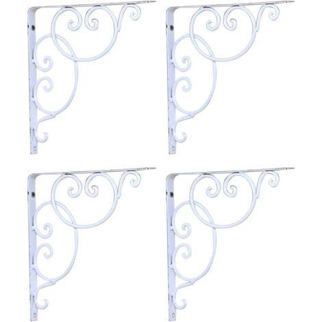 Shelf Bracket Wall Mounted Scroll Shelf Brackets 4pcs (White)