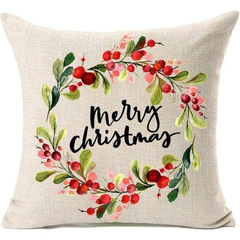 Christmas decoration Merry Christmas with leaf wreath cotton linen pillowcase 45.72 x 45.72 cm, pillowcase cushion cover