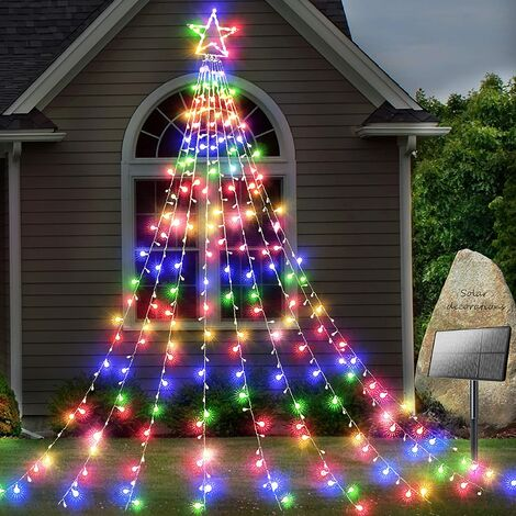 Solar Yard Decorations Star Lights 344 LED 8 Modes Outdoor Waterproof Solar Powered Garden Star Lights for Christmas Holiday Wedding Party Wall Decorative Twinkle String Lights (Multicolor)
