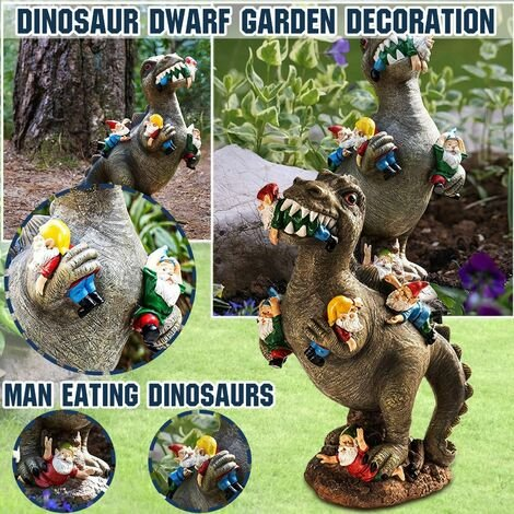 Garden Gnome Statues Outdoor Decor, Dinosaur Eating Gnomes Garden Decor Garden Ornaments Handicraft Flower Pot Accessories