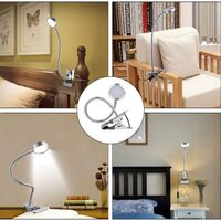 Clip-on Lamp LED Reading Clamp Desk Lamp Table Bed with Brightness Adjustment Eye Care for Office and Home Flexible 360 ° Silver