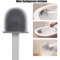 Silicone toilet brush, bathroom toilet brush with quick-dry holder, can be placed or hung (white)