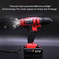 Cordless Drill Driver 21V Stepless Regulation Rechargeable Speed Electric Hand Drill Set Electric Drill Tools with LED, AC 220 V, US Plug