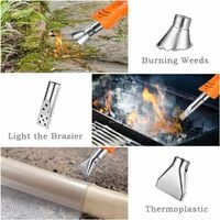 Electric Weed Burner, 60/650 ℃ 2000W Thermal Weed Killer with 2 M Cord, Thermoplastic / Charcoal Light Function, with 3 Nozzles for Garden / Barbecue / DIY, Orange