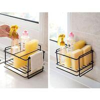 Sponge holder kitchen sink storage sponge holder in iron basket utensil holder cleaning cloth and brushes dishwashing liquid holder soap dish