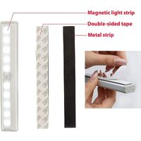 set of 2 LED night lights with motion detector, cabinet cabinet lighting, LED strip, self-adhesive, AAA battery powered (not included), aluminum finish