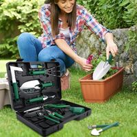 Gardening Tool Set, 10 Piece Stainless Steel Garden Tool Sets with Carrying Case, Gift for Gardening Lovers