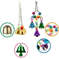 Parrot Bird Toys, 5 Pieces Parrot Toys, Bird Toy Swing Bird Toy, Bridge Ladders, Hanging Bell Toy, for Parrot, Parakeets, Macaws, Finches