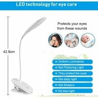 LED Desk Lamp, USB Cable Rechargeable Clip Reading Light, 3 Adjustable Color Temperatures and Brightness for Bed, Child, Reading