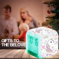 Unicorn Digital Alarm Clocks for Girls, Bright Night LED LCD Cube with Light Children Wake Up Bedside Clock Birthday Gifts for Kids Women Adult Bedroom (7)