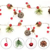 1 Pieces Berry Christmas Holly Garland, 204cm LED String Lights Christmas Berries Pine Cones Garland Deco for Christmas Crafts Decor