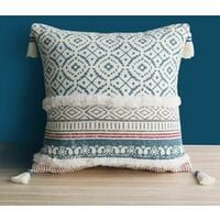Boho Tufting Pompom Cushion Cover - Square Geometric Knitted Cushion Covers Woven Pillow Case with Invisible Zipper for Living Room Sofa and Bed 45cmX45cm (Blue)