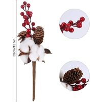 2PCS Natural Dried Flowers Cotton Stem with Pine Cones and Red Berry Cotton Flowers Fake Plants for Christmas Party Decoration Garden Home Bedroom Office Kitchen Balcony Hotel Wedding
