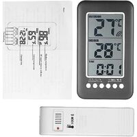 Wireless indoor outdoor thermometer with clock Digital wireless weather station with outdoor sensor, black friday 2020 Temperature monitor Intelligent LCD display ° C / ° F